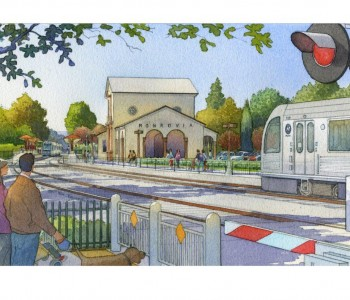 Artist rendering of Monrovia Gold Line Foothill Extension station