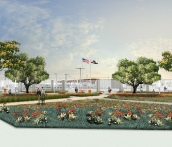 Rendering of public plaza and  viewing area on corner of  Evergreen Ave and California Ave.