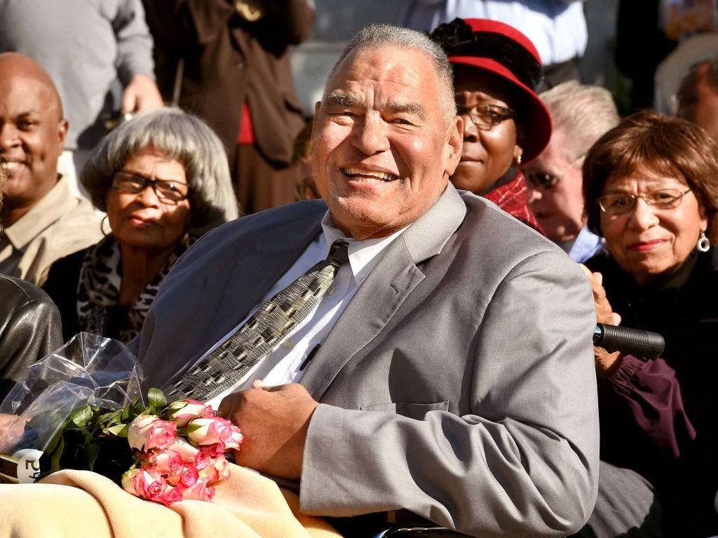 A celebration Friday, December 19, 2014 that honored former Mayor of Monrovia and longtime humanitarian Bob Bartlett on Royal Oaks Drive and California Avenue in Monrovia.(Photo by Walt Mancini/Pasadena Star-News)