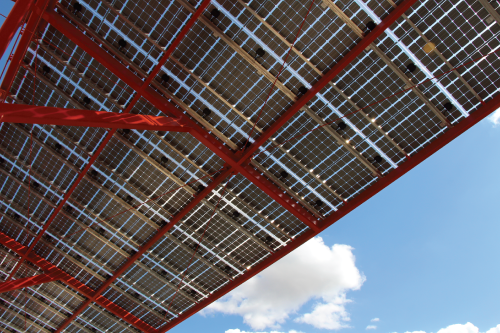 A 714-panel, 178.5-kw solar panel array generates enough electricity to meet one-third of power needs of the 132,000-sq-ft Main Shop Building.