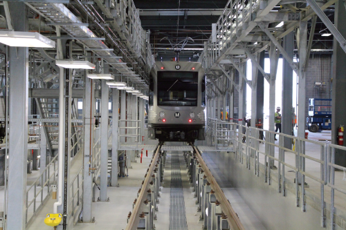 The full-service, state-of-the-art facility will house up to 84 light rail vehicles and nearly 200 employees over several shifts a day. Water-reduction measures in the Main Shop Building (such as high-efficiency fixtures and infrared sensor faucets) were employed to help achieve a 35 percent water reduction level.