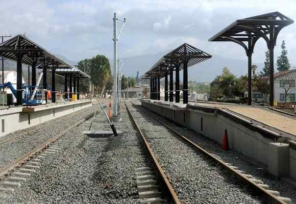 The city of Azusa, Rosedale Land Partners and Azusa Pacific University have asked Metro for a four-month delay in opening the Azusa Gold Line station. This October 2014 file photo shows the station under construction. FILE PHOTO