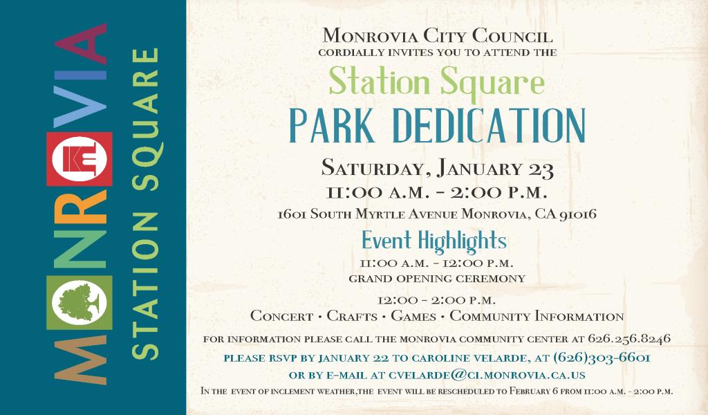 City of monrovia invites you to the station square park dedication station square invitation vippage1 stopboris Gallery