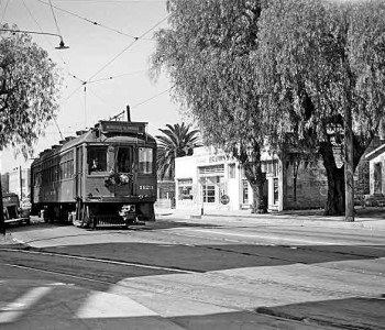 Pacific Electric car from 1951 at Monrovia Olive Street. Photo courtesy of Alan Weeks