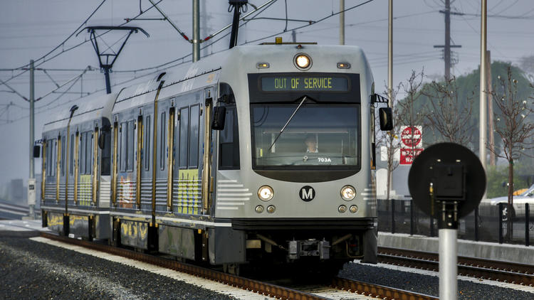 An extension of the Metro Gold Line is among the proposed transit projects that would be funded if voters approve a sales tax increase in November that seeks to raise $120 billion for transportation. (Irfan Khan / Los Angeles Times)