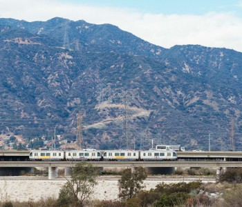 The Gold Line crossing the San Gabriel River in Irwindale. Photo by Steve Hymon/Metro.