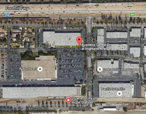 The Fish Canyon shuttle stop is located on Business Center Drive just west of Highland Avenue, a one block walk from the Metro Gold Line Duarte/City of Hope Station. Image via Google Maps.