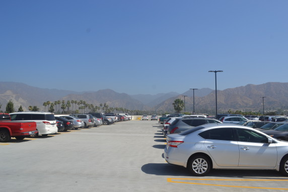 A view from atop the Azusa Intermodal Transit Center on Wednesday morning at 9:30 a.m. this week. Free Metro spots and Foothill Non-Paid Permit spots were all occupied at this time. Photos by Doug Lewis/Streetsblog L.A.