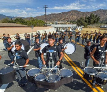 Azusa High School Marching band performing on Citrus Avenue Extension before ribbing cutting. The City of Azusa and Glendora officially opened its extension of Citrus Avenue Monday September, 19, 2016. The extension provides a direct connection to the APU/Citrus College Gold Line station so drivers and pedestrians don't have to take a long, winding path through Rosedale.(Photo by Walt Mancini/Pasadena Star-News/SCNG)