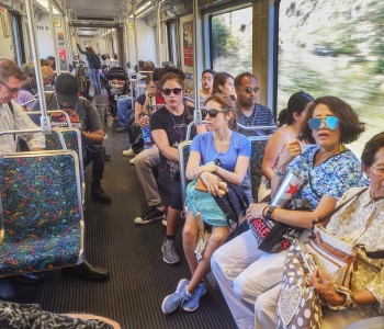 Riders on the Metro Gold Line in Pasadena. Ridership is up on the Gold and Metro Expo lines for August 2016 figures. (Photo by Walt Mancini/Pasadena Star-News/SCNG)