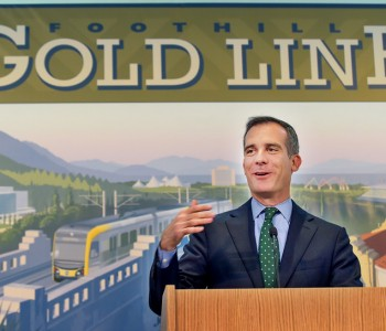 LA Mayor Eric Garcetti speaking at the Glendora-to-Montclair Gold Line extension kicked off at Pomona College,   Friday, October14, 2016.  The event featured a series of panels, and many speakers, including Congresswoman Judy Chu, John Fasana Board Chair, LA County Metro, Council member City of Duarte and Congresswoman,Grace Napolitano  Metro Habib F. Balian, Chief Executive Officer, Foothill Gold Line Construction Authority and Pasadena Mayor Terry Tornek. (Photo by Walt Mancini/Pasadena Star-News/SCNG)