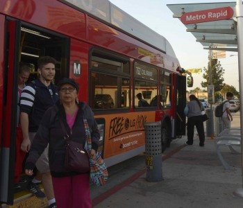 Eighty-six percent of Cudahy voters casted ballots in favor of Measure M. The buses going through this Gateway city are heavily used by the residents. People disembark the bus at the intersection of Santa Ana St. and Atlantic Ave. in Cudahy, Calif., Wednesday, Nov. 16, 2016.(Photo by Keith Birmingham, Pasadena Star-News/SCNG)