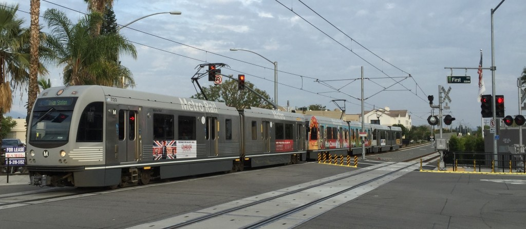 The Foothill Gold Line pulling into Arcadia (Streetsblog LA)