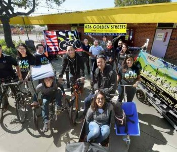 A team from Bike SGV takes a break from an organizational meeting at headquarters in El Monte on Feb. 24, 2017. On Sunday, March 5, the group will put on the 626 Golden Streets from South Pasadena to Azusa. Nearly 18 miles of streets will be car-free (streets closed from 9 a.m. to 3 p.m.) , so that people can walk, run and ride bicycles (non motorized vehicles) through the whole route. The event had to be postponed from last June due to wildfires in Duarte and Azusa. The event emphasizes bike and train riding and falls on the one-year anniversary of the opening of the Gold Line Foothill Extension. (Photo by Walt Mancini/Pasadena Star-News/SCNG)