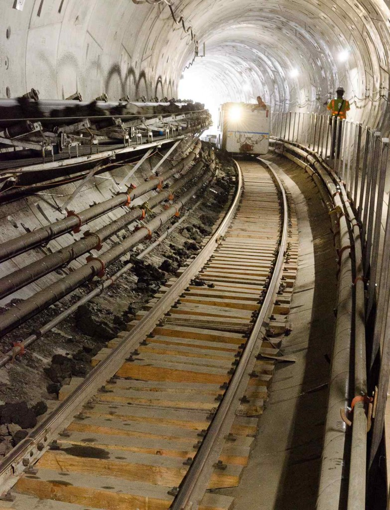 Construction of the first Regional Connector rail tunnel under Bunker Hill continued in July. (Photo from The Source, a blog on the Metropolitan Transportation Authority website at http://thesource.metro.net/)