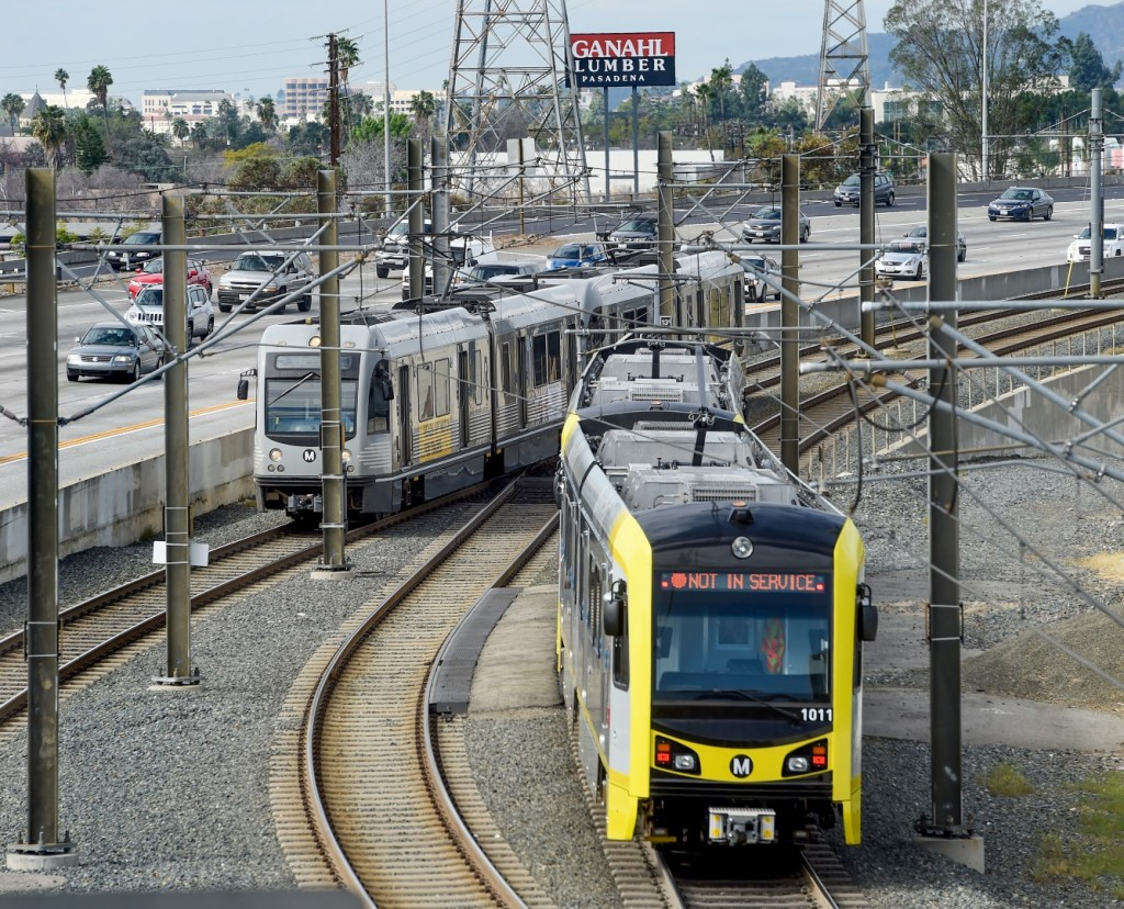 A Metro Gold Line train rolls down the track in February 2016. (Photo by Walt Mancini/Southern California News Group)