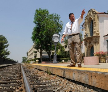 Claremont City Councilman Sam Pedroza shows the tracks at the Historic Claremont Depot where the Gold Line station is proposed to be on Thursday on June 29, 2017. (Photo by Keith Durflinger/San Gabriel Valley Tribune/SCNG)