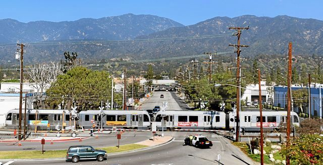 Foothill Gold Line train passes through Highland Avenue intersectionnear the Duarte Station Monday, February 9, 2015. Train testing has begun on the 11.5-mile Foothill Gold Line between Pasadena and Azusa, from Monday, through Summer 2015. Train testing is currently taking place in the cities of Duarte and Irwindale, and will expand to Pasadena, Arcadia, Monrovia and Azusa over the next several months.Systems integration testing is when the train is moving and they're looking to see how it works together. Train will be running between Myrtle Avenue and Irwindale, back and at 15 mph.T(Photo by Walt Mancini/Pasadena Star-News)