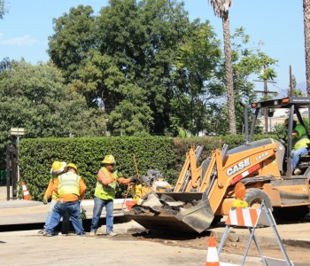 Crews relocate a utility line near the future Maintenance and Operations Facility in Monrovia