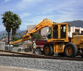 Crews install two light rail tracks in Azusa