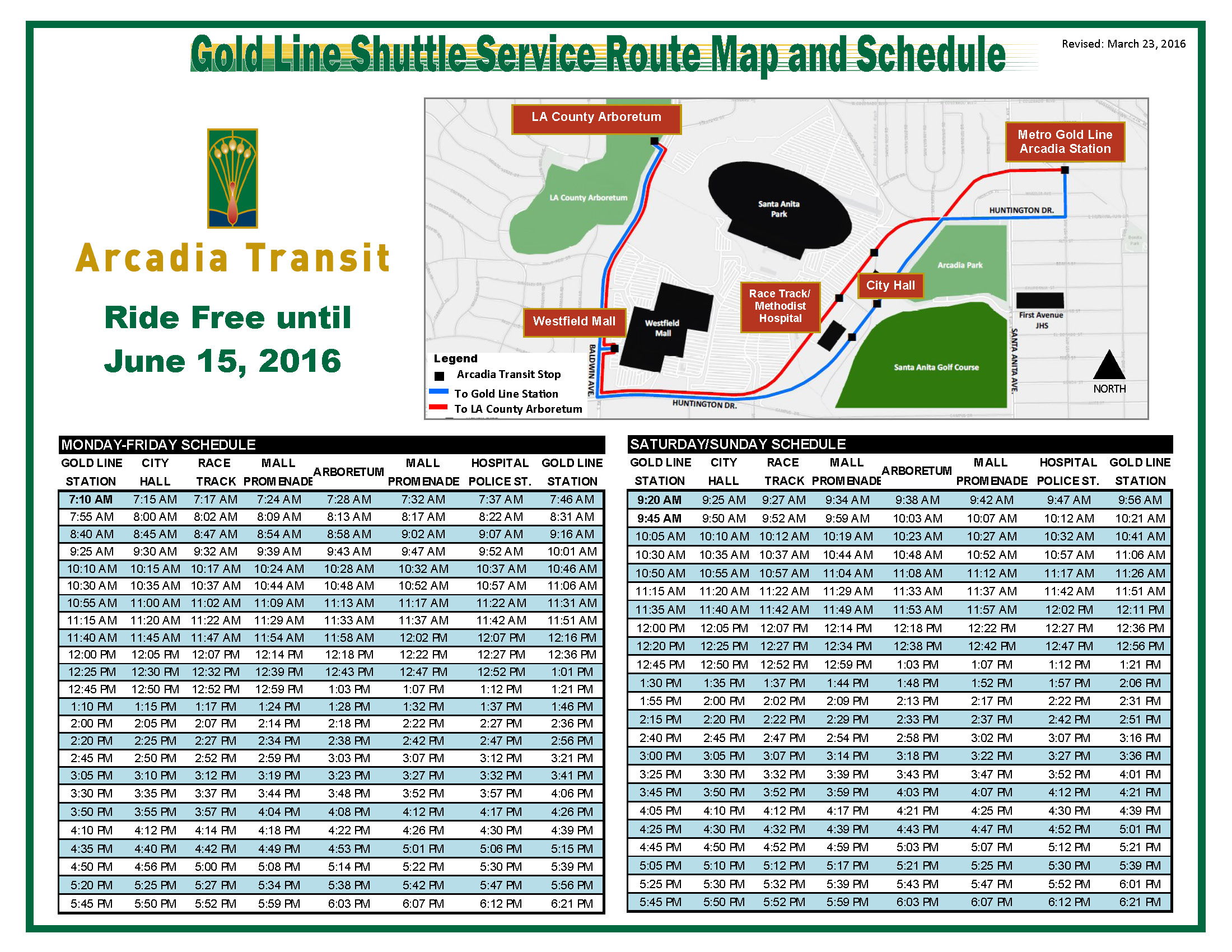 City of Arcadia Announces Gold Line Shuttle Service, Connecting ...