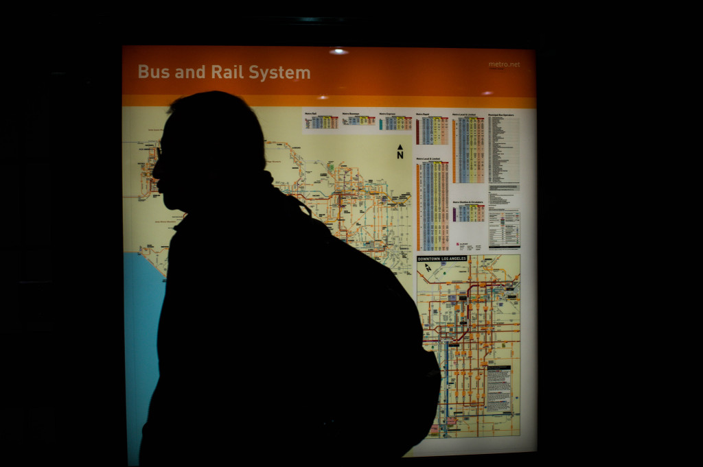 A man looks at a Metro map with colored routes at the 7th St/Metro Station in Los Angeles on Thursday, December 6, 2018. The LA Metro Board is approving to rename their lines from colors to letters with the current colored dots being lettered dots in the future. (Photo by Sarah Reingewirtz, Pasadena Star-News/SCNG)