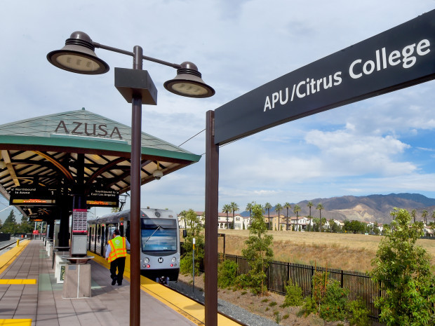 Azusa Station used for transportation by many students attending Azusa Pacific and Citrus College.The City of Azusa and Glendora officially opened its extension of Citrus Avenue Monday September, 19, 2016. The extension provides a direct connection to the APU/Citrus College Gold Line station so drivers and pedestrians don't have to take a long, winding path through Rosedale.(Photo by Walt Mancini/Pasadena Star-News/SCNG)