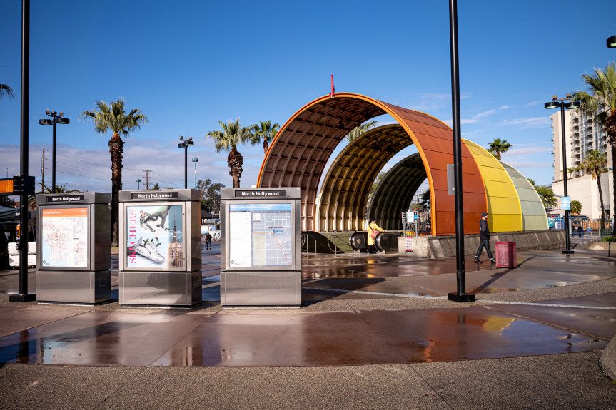The Metro Red line station in North Hollywood is very empty as commuters stay home and many shops and restaurants have closed Tuesday, March 17, 2020. (Photo by David Crane, Los Angeles Daily News/SCNG)
