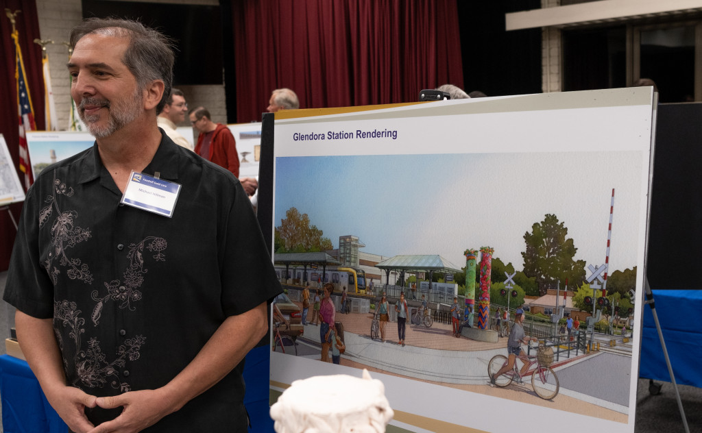 Michael Hillman, Glendora's Gold Line station artist, took inspiration from the city's rich history as an orange grove for his station design. (Staff photo by Pierce Singgih/SCNG)