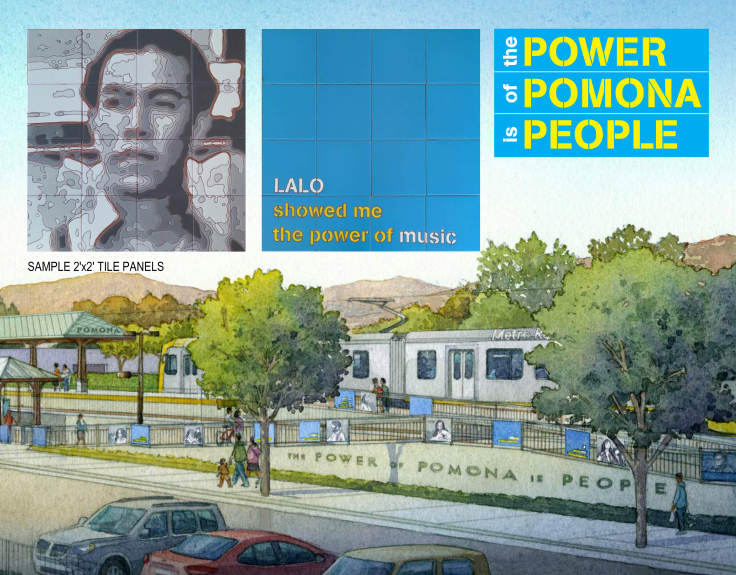 Pomona Gold Line Station artwork rendering (Courtesy of Foothill Gold Line Construction Authority )